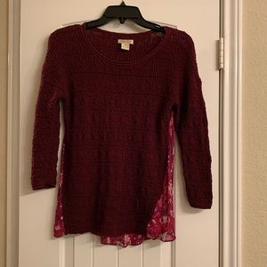Lucky Brand woven sweater mix top